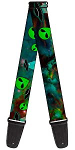 UFO Alien Green ET Space Outer Galaxy Invasion Acoustic Electric Guitar Strap