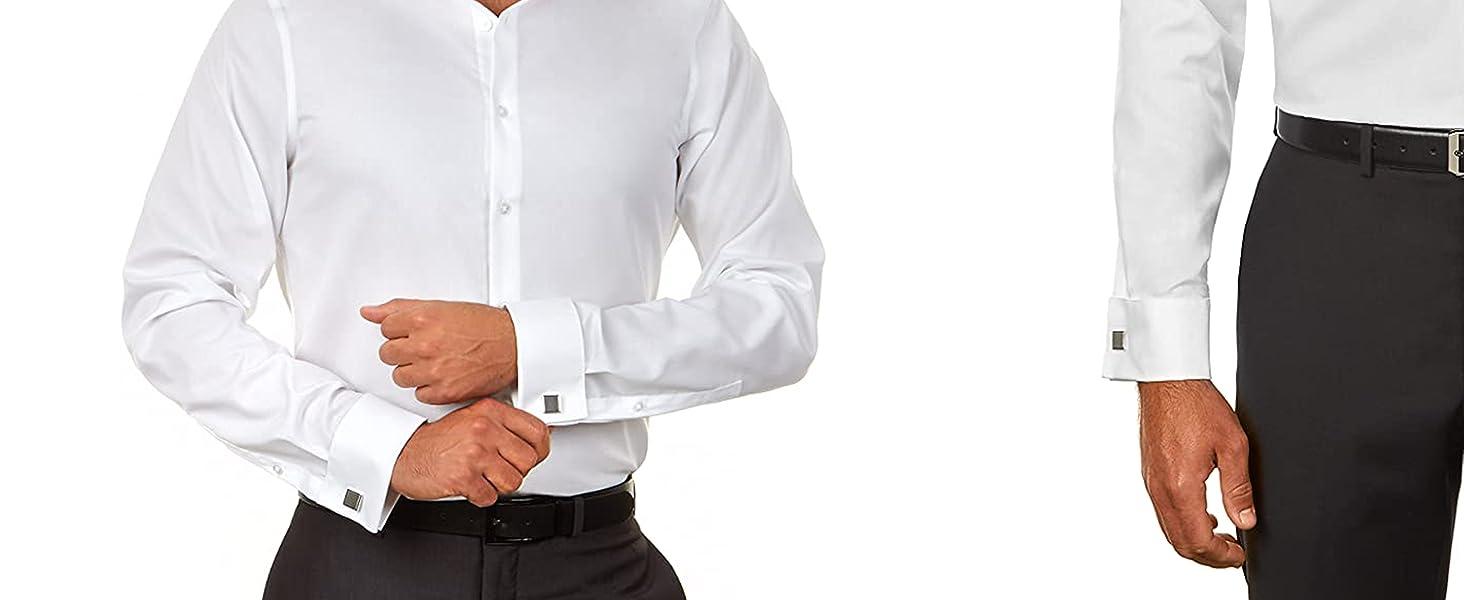 CK Steel Herringbone French Cuffs Dress Shirt