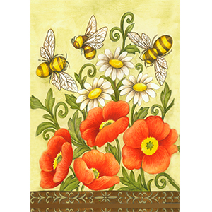 bee;honeybee;buzzing;insect;flying;spring;summer;poppy;flower;floral;poppies;field;daisy;daisies