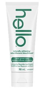 hello Naturally Whitening Fluoride Toothpaste, Farm Grown Mint with Tea Tree & Coconut Oil, 98 mL