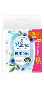 エリエール Puana(ピュアナ)ウエットティシュー 純水99% つめかえ用62枚×8P
