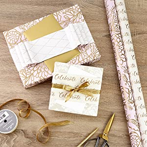 Elegant rose and gold wrapping paper for bridal showers, weddings, Mother's Day and birthdays