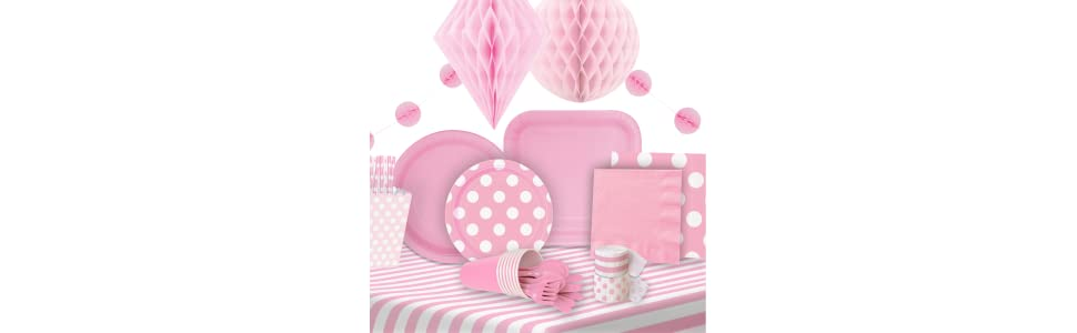 Hot Pink Decorative Dots Polka Dots Party Lunch Plates x 8