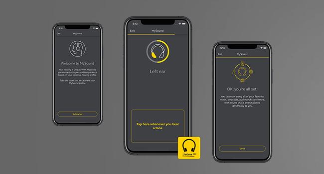 Använd vår senaste banbrytande teknik för att testa din hörsel i Jabra-appen Sound+