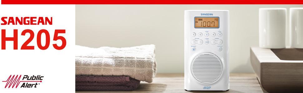 Sangean H205 AM / FM / Weather Alert Waterproof Shower Radio