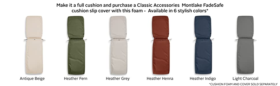 Classic Accessories Patio Chaise Lounge Cushion Foam
