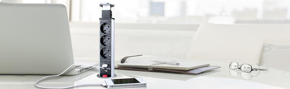 HUX POWER 3 fach versenkbare Tisch-Steckdose Wassergeschützt ...