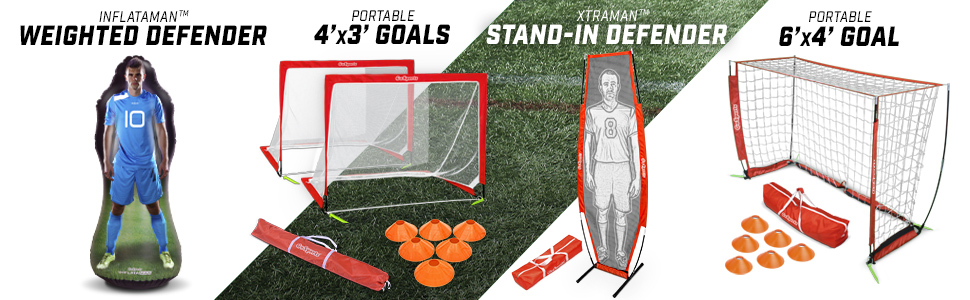 Choose from 2.5, 4 and 6 sizes With Agility Training Cones and Portable Carrying Case for Kids /& Adults GoSports Foldable Pop Up Soccer Goal Nets Set of 2
