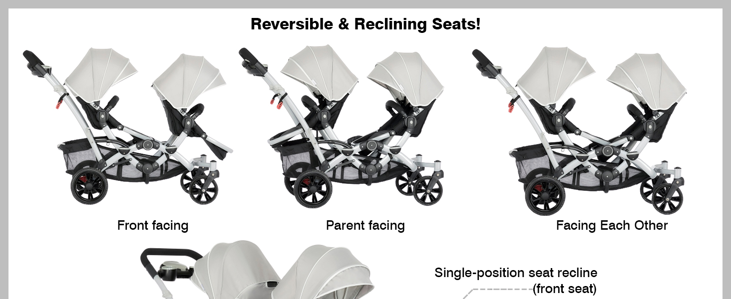 reversible strollers, reclining strollers, dream on me rider, baby strollers, track tandem stroller