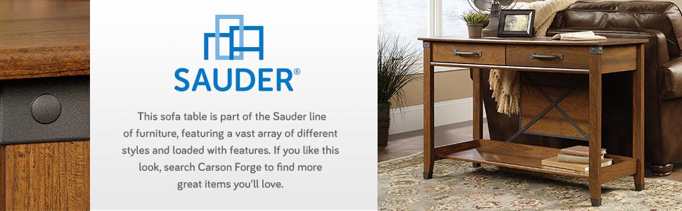 Amazon Com Sauder 414443 Carson Forge Sofa Table L 47 17 X W