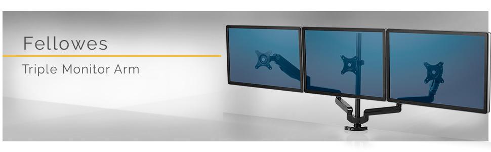triple monitor arm, monitor arm, monitor arms, monitor riser, monitor stand, fellowes, ergo