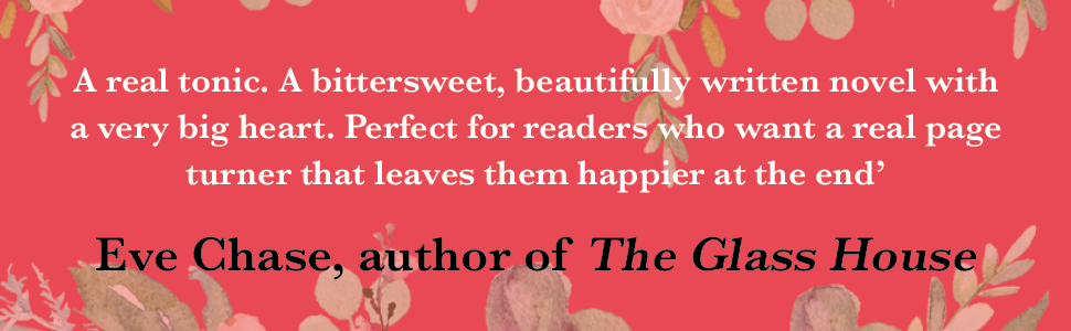Eve Chase review quote on pink floral background