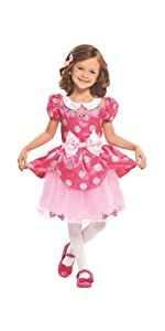 minnie mouse dress, disney dress up, princess dress up, pink dress, dress with bows, polka dot dress