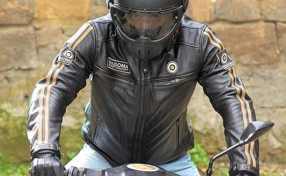 MAGOMA Brooklyn con protezioni da moto Uomo Giacca in pelle A+