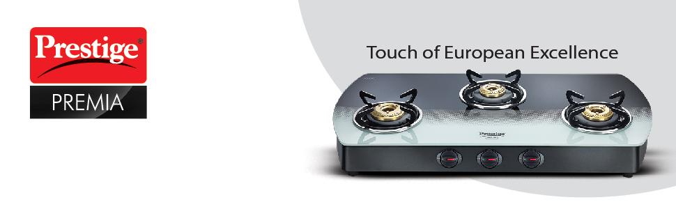 Prestige Premia Schott Glass 2 Burner Gas Stove, Manual Ignition, Black/White SPN-FOR1