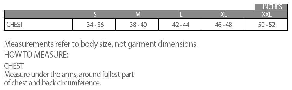 merino wool base layer size chart