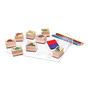 Bigjigs Toys Arts /& Crafts Dinosaur Stamp and Colour Set with Ink Pad Toy