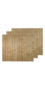 ***PACK OF 5***  6ft x 3ft FEATHEREDGE CLOSEBOARD PANELS