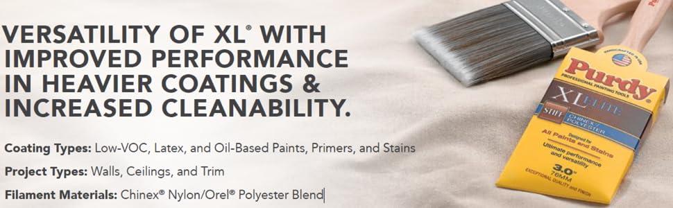 "Purdy 3/"" XL Elite Sprig Flat Trim Brush Model 144380530 Chinex//Polyester"
