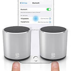 mini wireless speakers  [2 Pack] HeadSound H2 True Wireless Bluetooth Speakers, Latest Powerful Dual Twin Portable Mini Speaker Set w/Surround HD Sound, Instant Pairing with Built in Mic for HandsFree Calls for Home (Silver) 41b77e9d 32a1 4786 af0f fc208947aaeb