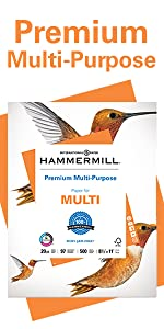 Hammermill Premium Multipurpose 20lb letter size print and copy paper, 500 sheets, Made in USA