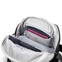 """Internal padded pocket for an 11"""" laptop or standard iPad also the RFID Blocking Pocket"""