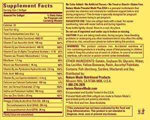 Nature Made MultivitaminSupplement Facts