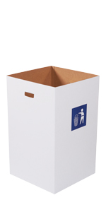 40 Gallon Corrugated Trash Cans with Waste Logo and Hand Holes