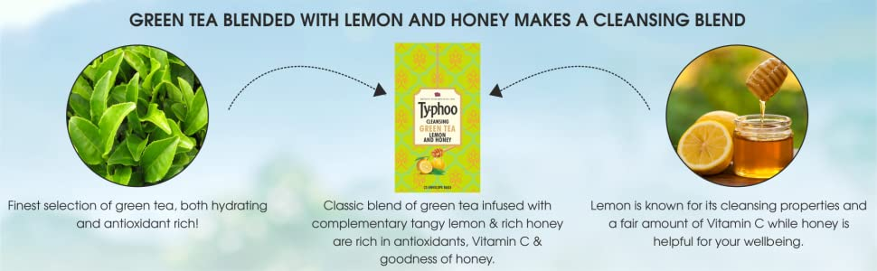 Ty-phoo Natural Green Tea Lemon and Honey with 25 Heat Sealed Enveloped Bags for Men and Women, 90 g