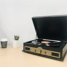 MB-USBTR98 WOOD TURNTABLE RECORD PLAYER USB RECORD TO PC