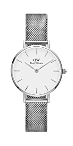 dw, daniel wellington, petite sterling, silver mesh watch, white silver watch