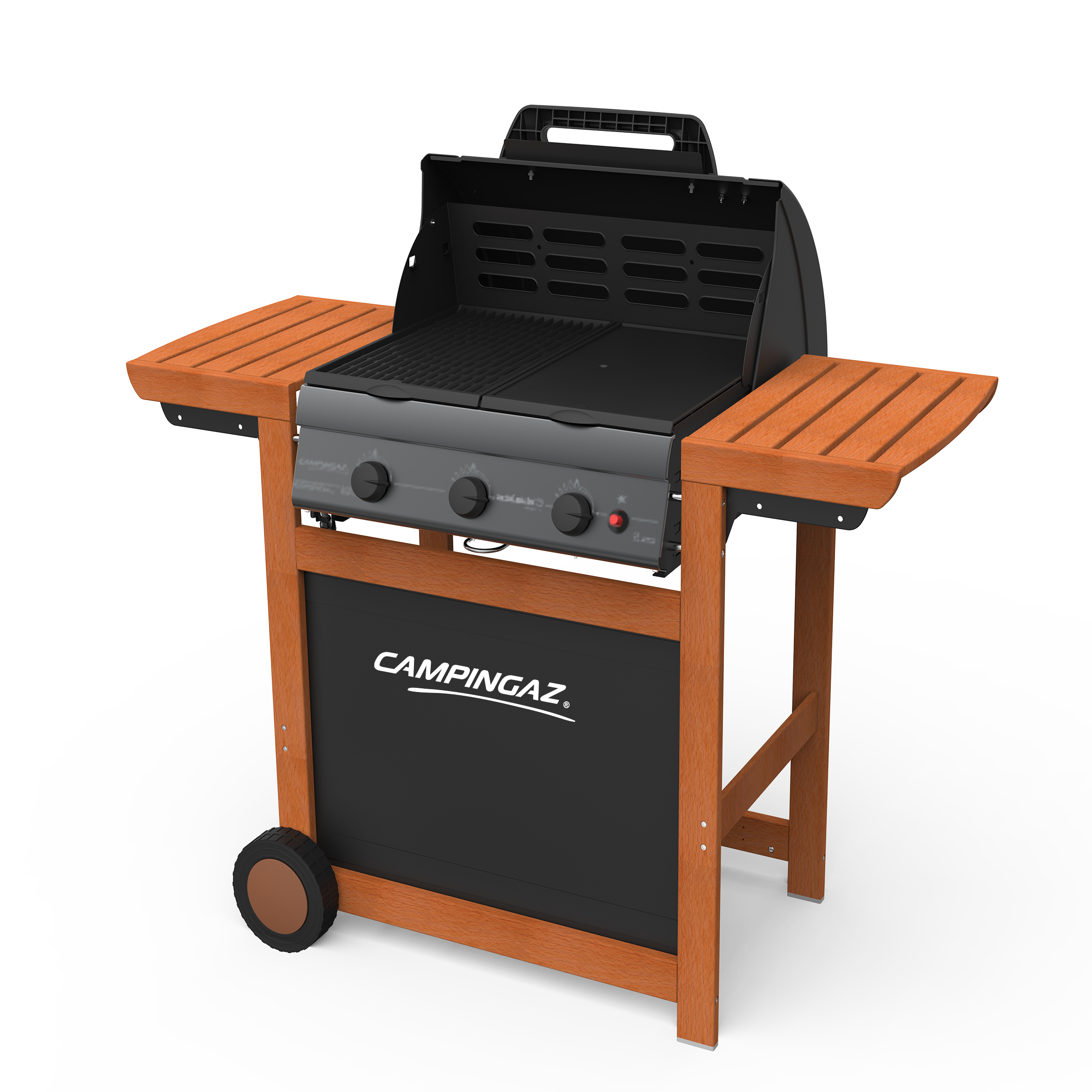 campingaz gasgrill adelaide 3 woody l bbq grillwagen aus holz mit 3 gusseisen brennern deckel. Black Bedroom Furniture Sets. Home Design Ideas