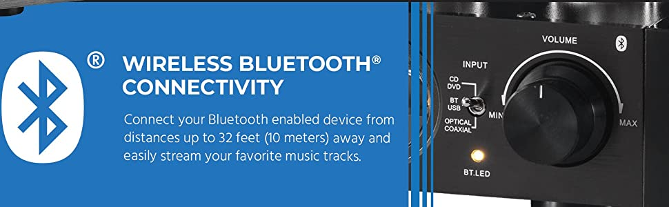 Connect Bluetooth enabled device from distances up to 32 feet 10meters away and easily stream music