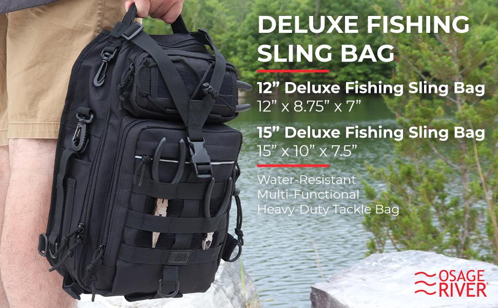 Osage River Deluxe Fishing Sling Bag Backpack Rod Holder Tackle Crossbody