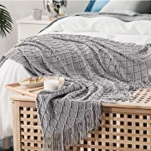 Bedsure Blanket for Couch, Knit Woven Blanket4