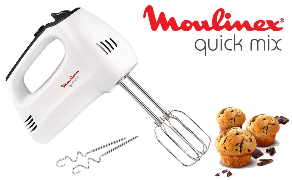 Moulinex HM3101 - Batidora amasadora y varillas con gancho para amasar y varillas para batir, 5 velocidades y función turbo, 300 W, pan y repostería: Amazon.es: Hogar
