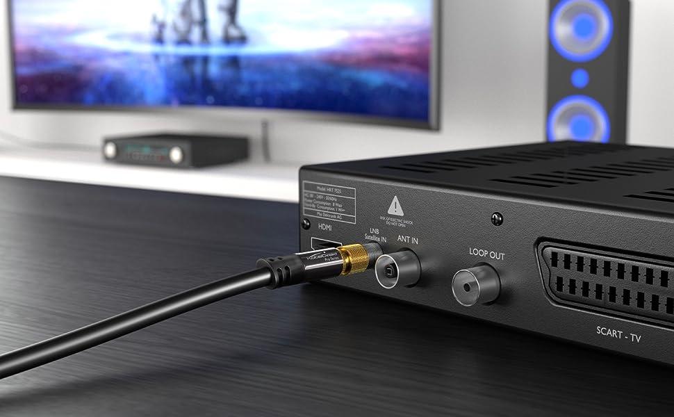 KabelDirekt 7,5m Cable TV Sat (75 Ohm, HDTV, Conector F a Conector ...