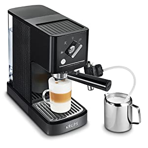 Krups Calvi Latte XP345810 cafetera espresso con accesorio para capucchino,15 bares de presión, sistema de regulación térmica, capacidad de 1 litro, ...