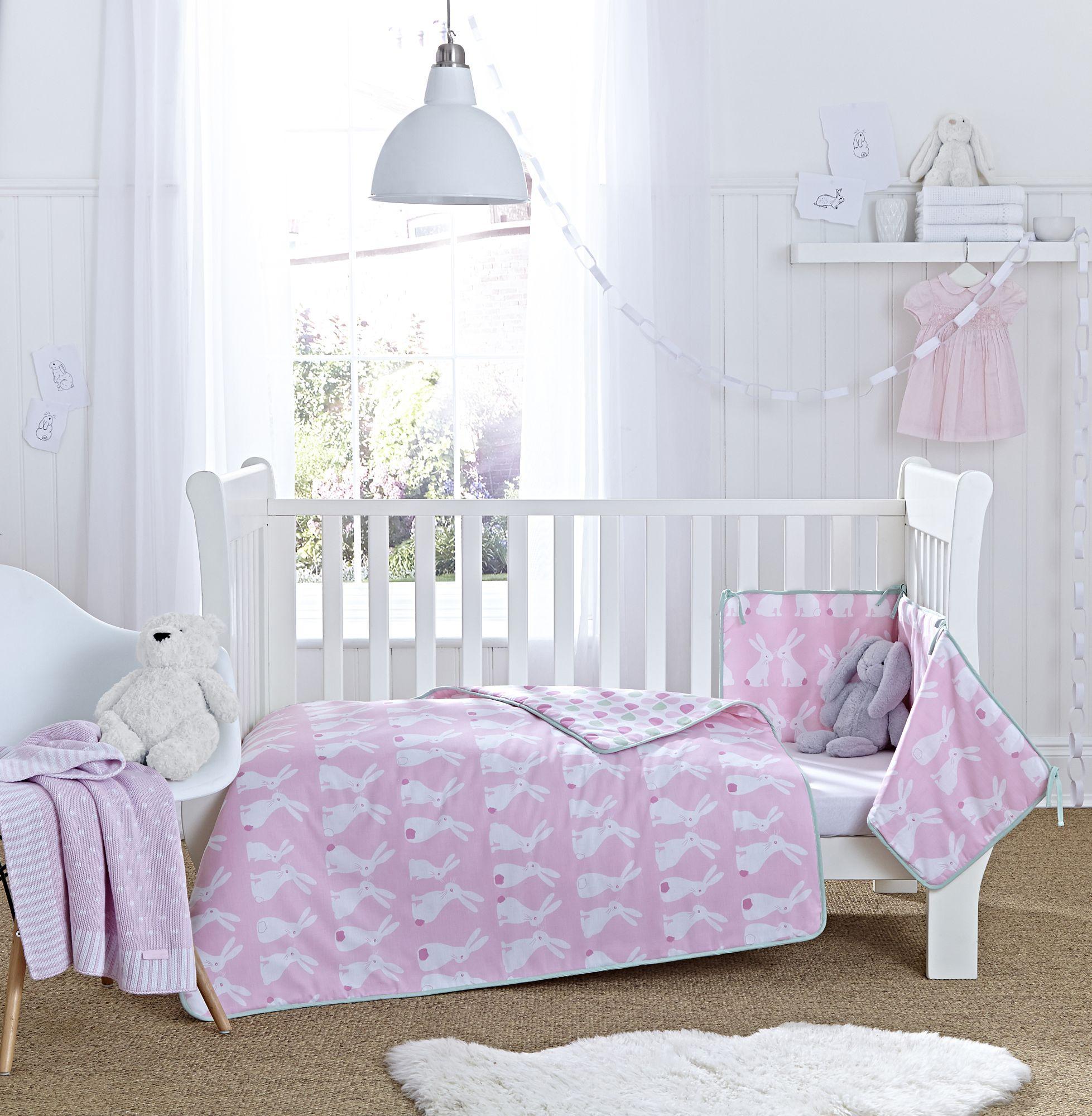 Clair De Lune Pink Rabbits Cot Cot Bed Quilt And Bumper Bedding Set Baby