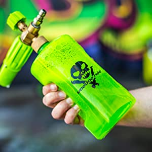 Voodoo Ride,foam cannon,car soap,water,car detailing,spray,neon green,mixture,pressure,solution,foam