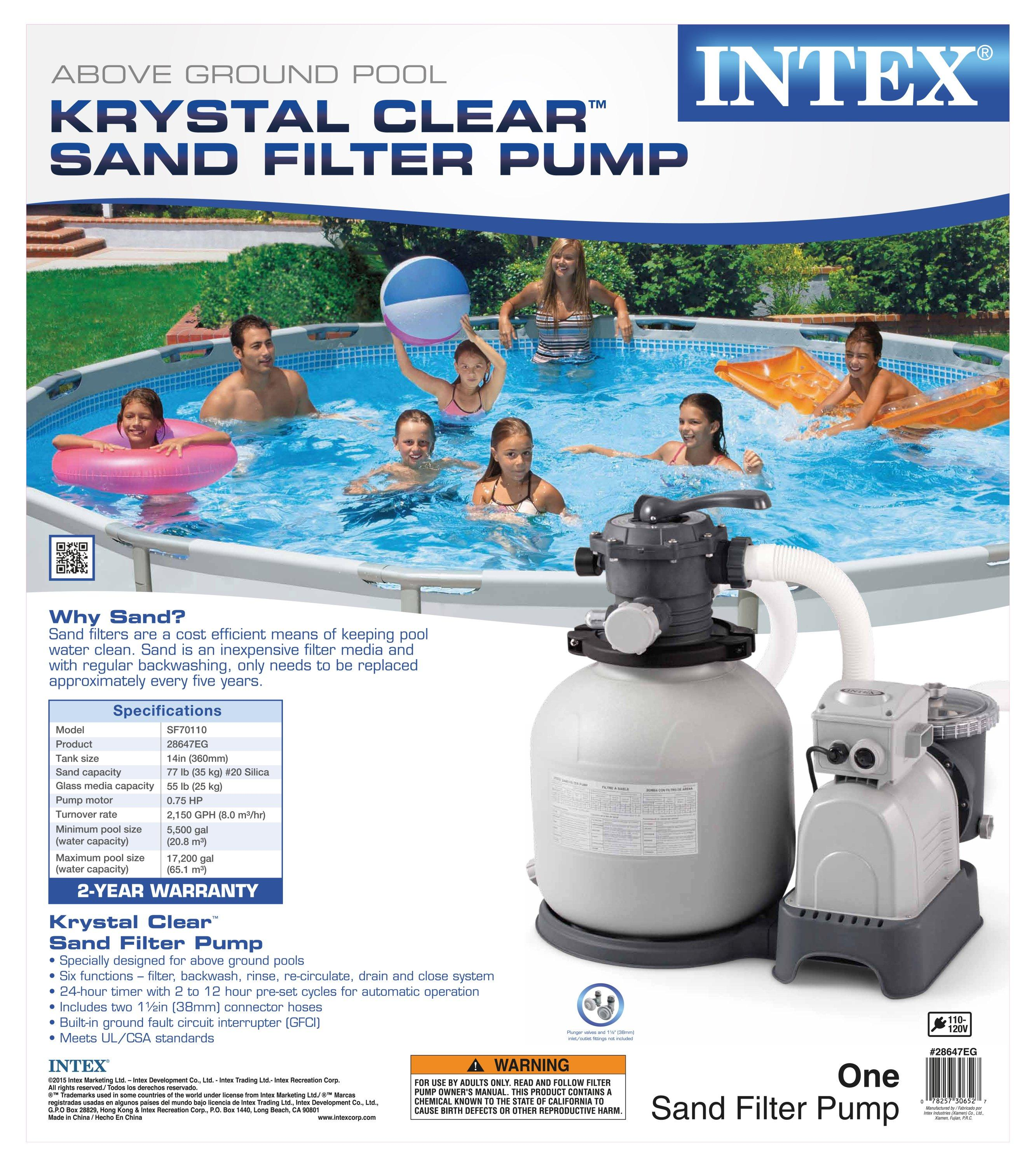Intex Krystal Clear Sand Filter Pump For Above Ground Pools 2800 Gph Pump Flow
