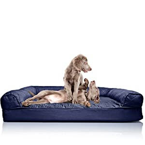 furhaven quilted orthopedic sofa pet bed for dogs and cats jumbo navy