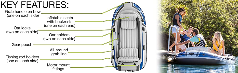 Amazon.com: Intex Excursion 4, 4-person Inflatable Boat Set ...