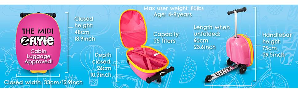 ZincFlyte Flyte ZC03909 Kids Luggage Scooter 18