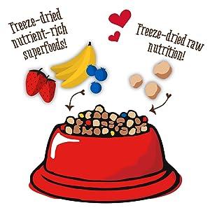 dog food topper; freeze dried; dog food; freeze dried raw; raw dog food; freeze dried meal mixer;