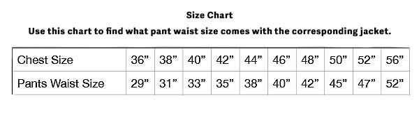Men's suit size chart