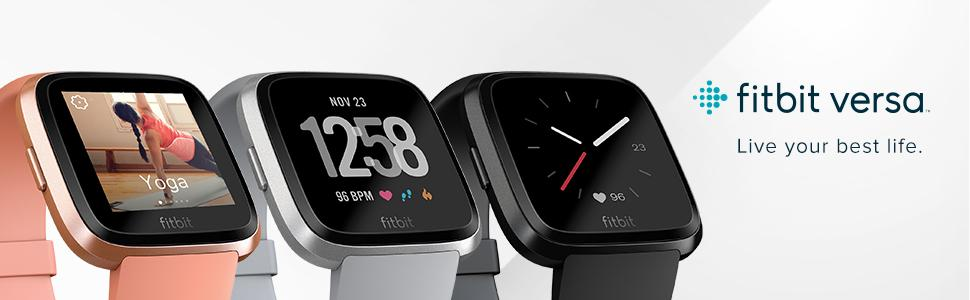 Fitbit versa in pink, gray, and black