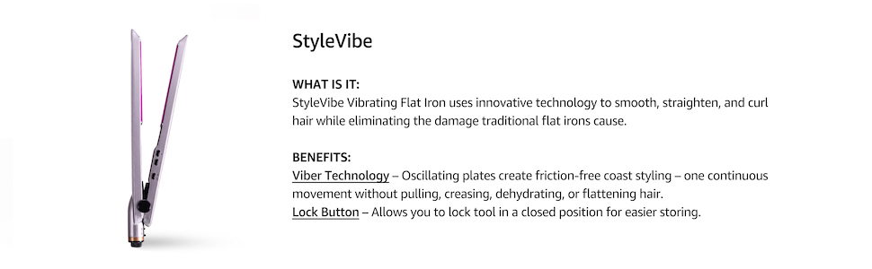 calista stylevibe flat iron, hair straightener, product details, tourmaline ionic ceramic technology