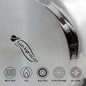 Batería de cocina 5 PCS San Ignacio Acero inoxidable Fondo de olla encapsulado de aluminio Inducción