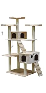 Amazon Com Go Pet Club 77 Inch Cat Tree Brown Black
